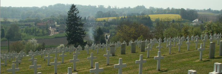 Looking down from the top of the cemetery towards Craonnelle