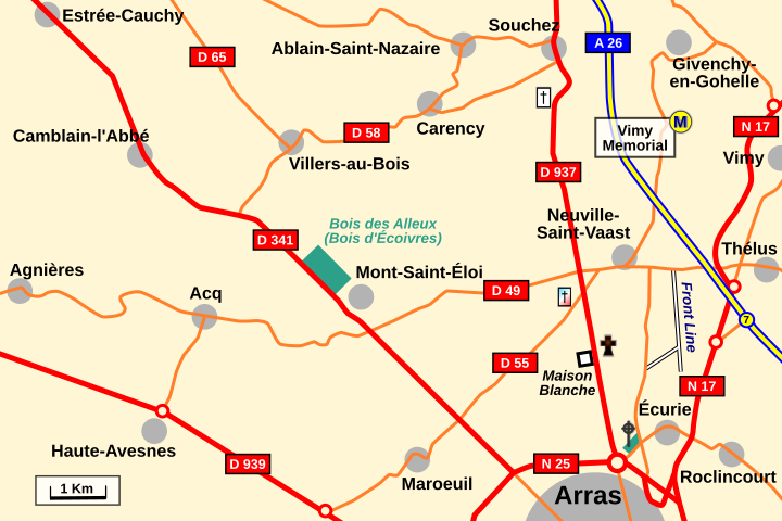 Map: General area of Écurie and Mont St Eloi