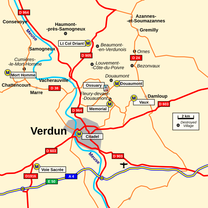 Rough Map: The general area around Verdun