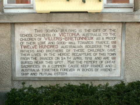 Victoria School - the memorial plaque