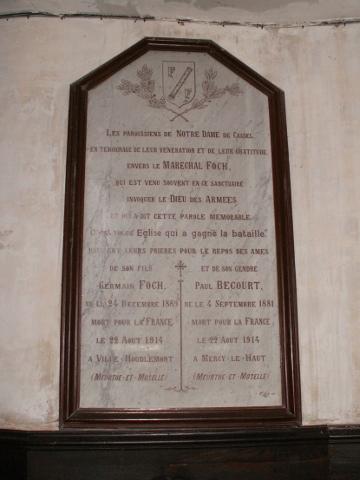 Memorial plaque to Foch in Cassel church