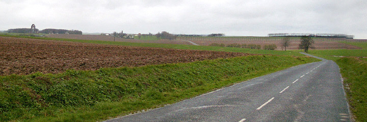 Looking towards Thiepval on the left and the Grande Ferme on the right
