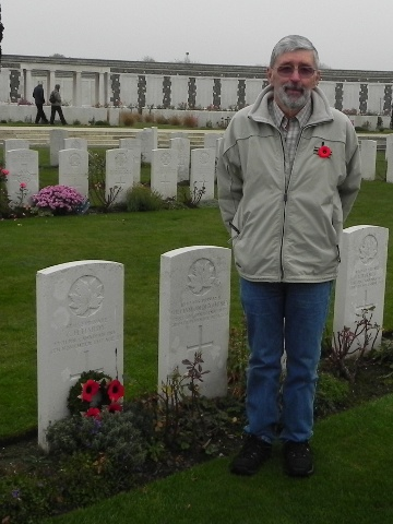 Charlie Hardy at his uncle's grave