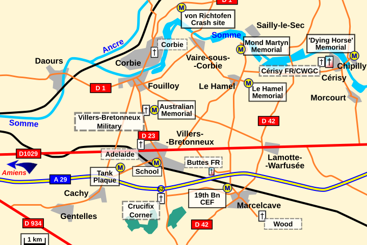 Map: General area of Villers-Bretonneux