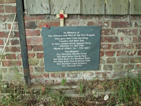 Plaque to the 93rd Brigade at Serre