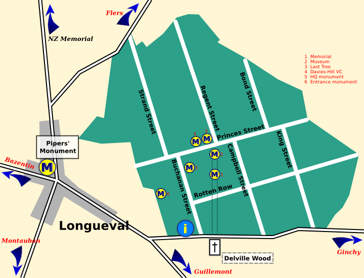 Map of Delville Wood showing monument sites