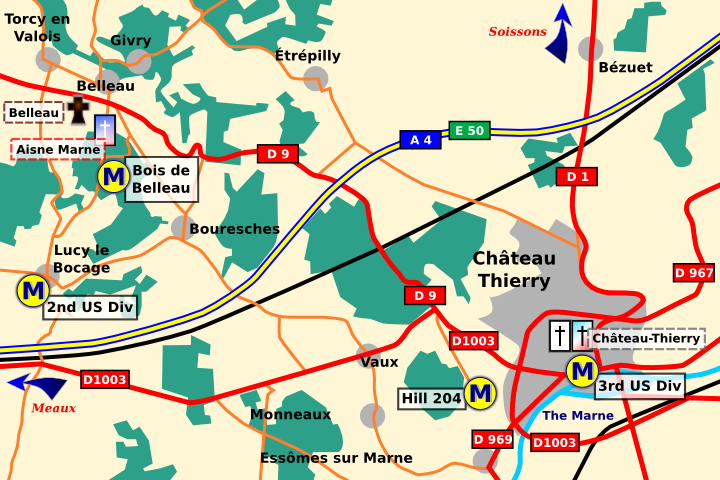 General area of Château-Thierry and Belleau