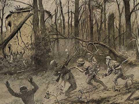 George Scott's depiction of the fightiing in Belleau Wood