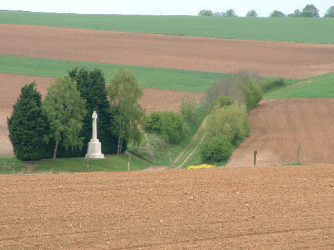 Looking down on the sunken road from Hawthorn ridge
