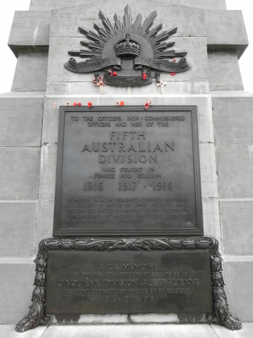 The plaque on the Australian 5th Division Memorial
