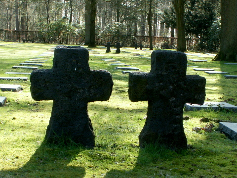 Gothic crosses are dotted about the cemetery