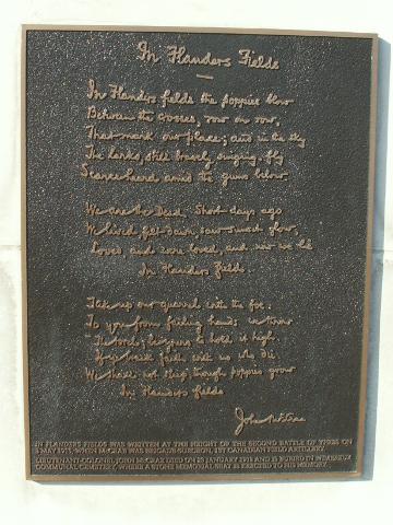 In Flanders Field plaque