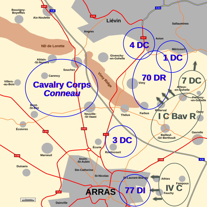 Map : Artois 2nd October 1914