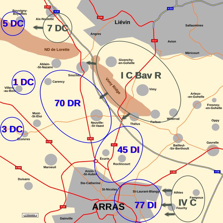 Map : Artois 5th October 1914