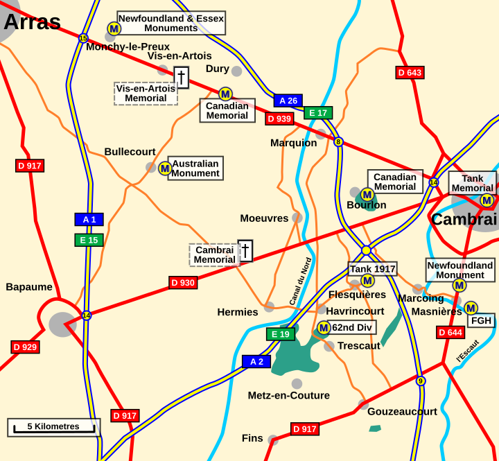 General area of the Cambrai Battlefield